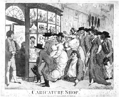 Thomas Rowlandson. Caricature Shop.  [Above the door: P. Roberts. Publisher]  Etching. GC112. Gift of Dickson Q. Brown, class of 1895.