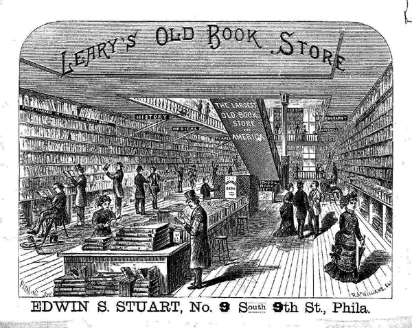 Leary's bookstore stocked used and antiquarian books,  illustration on rear pastedown of blankbook issued by the firm ca. 1880. Call number for blankbook: (MSS) C0938 (no. 62)