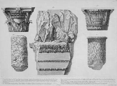 Frammento di architrave e fregio, capitelli e  pezzi di colonne — a plate in  Trofei di Ottaviano Augusto (1753) [Pt. 2 of  (Ex) NA310.P66e; acquired by the Library before 1884]