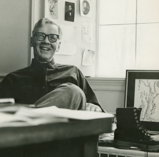 Louis Coxe in his faculty office at Bowdoin College: source: http://images.bowdoin.edu/items/show/3053