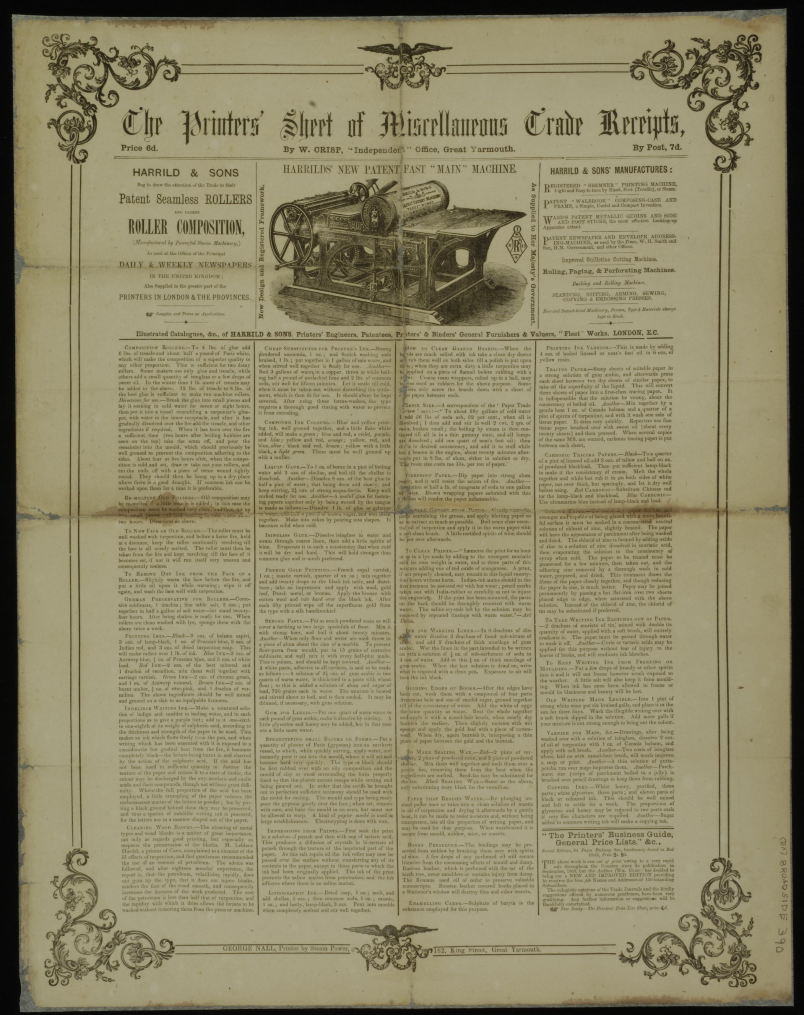 W. Crisp, The Printers' Sheet of  Miscellaneous Trade Receipts  (187-) — (Ex) Broadside 390