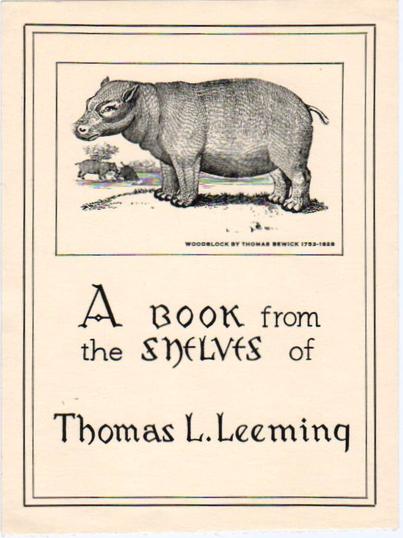 Bookplate of Thomas Leeming donor of Mark Twain books