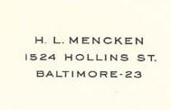 From Mencken's letterhead