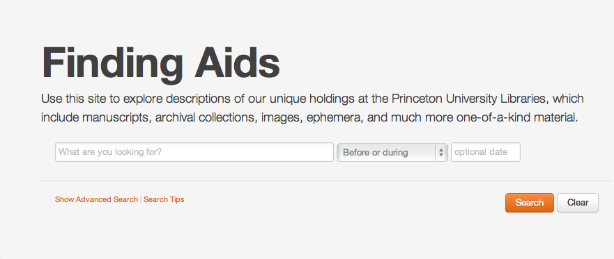 Screenshot of finding aids site