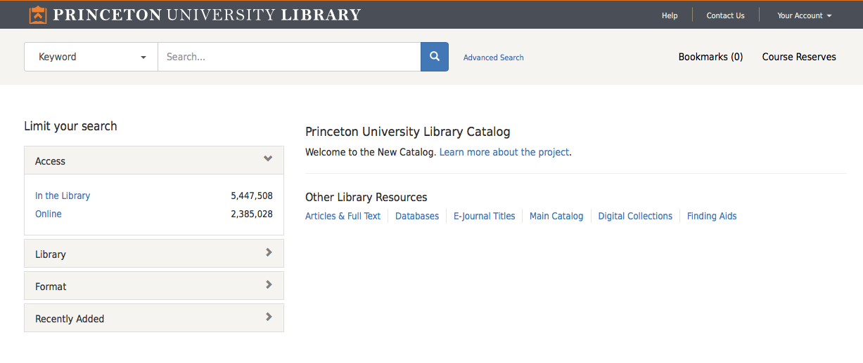 Screenshot of new catalog