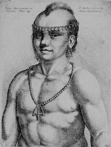 Wenzel Hollar, etching of an American Indian. London, 1542. Illustrated in John White, The General History of Virginia. London: printed by I. D. and I. H. for Michael Sparks, 1624. Rare Books, The Grenville Kane Collection.