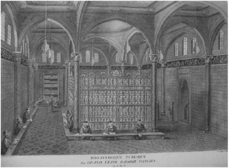 """The Library of Grand Vizier Ragib Pasha,""  engraving in the  Tableau général de l'empire othoman  by Ignatius Mouradgea d'Ohsson  published in Paris, 1787-1790."