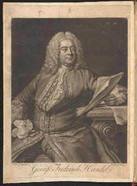 George Frederick Handel 1749.  Mezzotint mounted on endpaper at  front of Alexander Balus:  an oratorio [manuscript,ca. 1748]