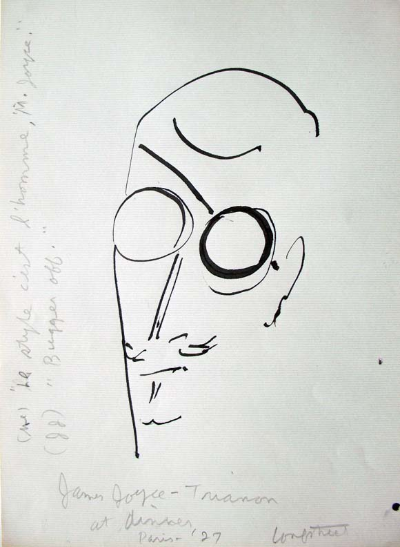 Stephen Longstreet (1907-2002), James Joyce - Trianon at dinner - Paris, 1927. Pen drawing on paper. Graphic Arts GC088