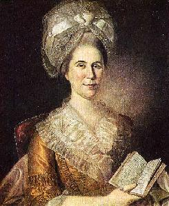 Mrs Elias Boudinot IV (Hannah Stockton, 1736-1808), holding a copy of James Thomson's poem  Winter.