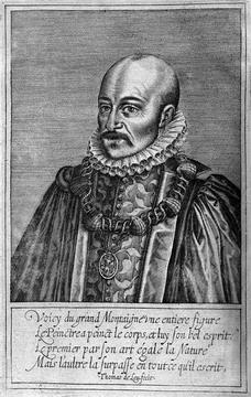 Frontispiece portrait by  Thomas de Leu (Essais. 1608)  [(Ex) 3273.1608]