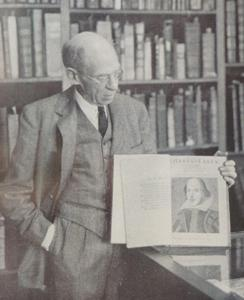 Curator George M. Peck  shows Princeton's First Folio  in the Treasure Room,  Pyne Library (1938)