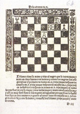 Repetición de Amores e Arte de Axedrez (Discourse on Love and the Art of Chess; Salamanca, 1497), by Luis Ramirez de Lucena,