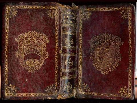 Armorial binding covering Ogier Ghislin de Busbecq, Legationis Turcicae epistolae quatuor. Frankfurt, A. Wechels Erben, C. de Marne et J. Aubry 1595. Call number (Ex) 1789.229.13.
