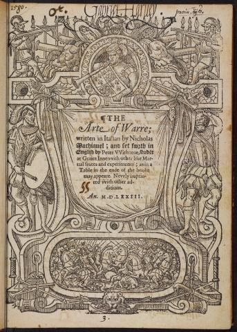 Gabriel Harvey. His copy with annotations of the Arte of Warre 1573.  http://arks.princeton.edu/ark:/88435/wp988m09p