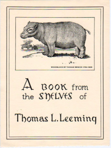 Bookplate of Thomas Leeming donor of Mark Twain books