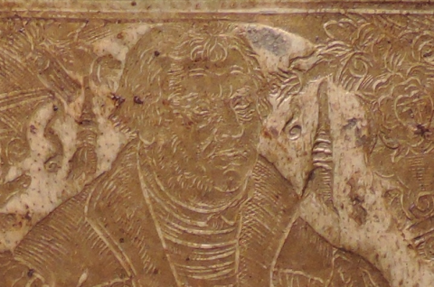 Detail from Full length portrait of Martin Luther. Panel signed T.K., viz., Thomas Krüger, Wittenberg bookbinder. Panel on back cover of blind-tooled pigskin binding of the first Latin edition of the Lutheran Konkordienbuch (Leipzig, 1580)  Ex 5646.604