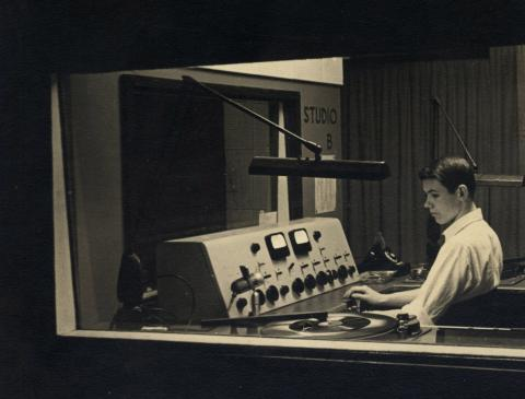 Photo of host in radio station