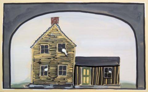 Jones' set design for the 1947 production of A Moon for the Misbegotten by Eugene O'Neill (1888-1953), one of many Jones designed for the Theater Guild of New York City.  Graphic Arts collection