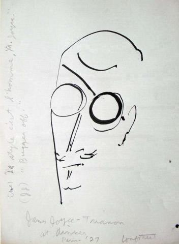 Stephen Longstreet (1907-2002), James Joyce - Trianon at dinner - Paris, 1927. Pen drawing on paper. Graphic Arts GC088