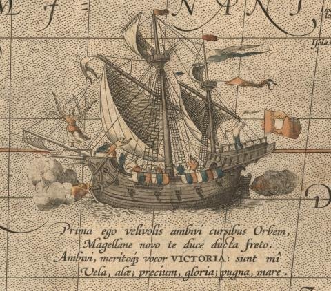 "Image of Victoria from Abraham Ortelius's map ""Maris Pacifici . . ."" (Antwerp, 1595). [Historic Maps Collection]"