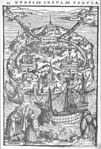 """Utopiæ insulæ tabula."" Woodcut map, 17.9 × 11.9 cm. From More's De optimo reip. statv, deqve noua insula Vtopia, libellus uere aureus, nec minus salutaris quàm festiuus . . . (Basel: Apvd Io. Frobenivm mense decembri an M.D.XVIII [December 1518]"
