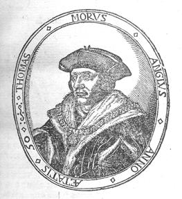 Portrait of Sir Thomas More, 1478–1535. From his A Dialogve of Cumfort against Tribulation . . . (Antwerp: apud Iohannem Foulerum, Anglum, 1573) [Rare Books Division].