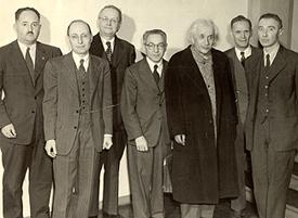 Physics Department faculty and Albert Einstein