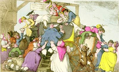 """Miseries of Travelling,"" colored etching, 1807. One of many plates by  Rowlandson on the ""Miseries"" theme, inspired by James Beresford's  Miseries of Human Life (1806).  [(GA) GC 112]"