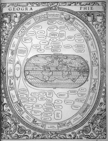 """Christophe de Savigny, ca. 1530–1608. """"Geographie."""" Woodcut engraving, 40.2 × 31 cm. From his Tableaux published in 1587"""