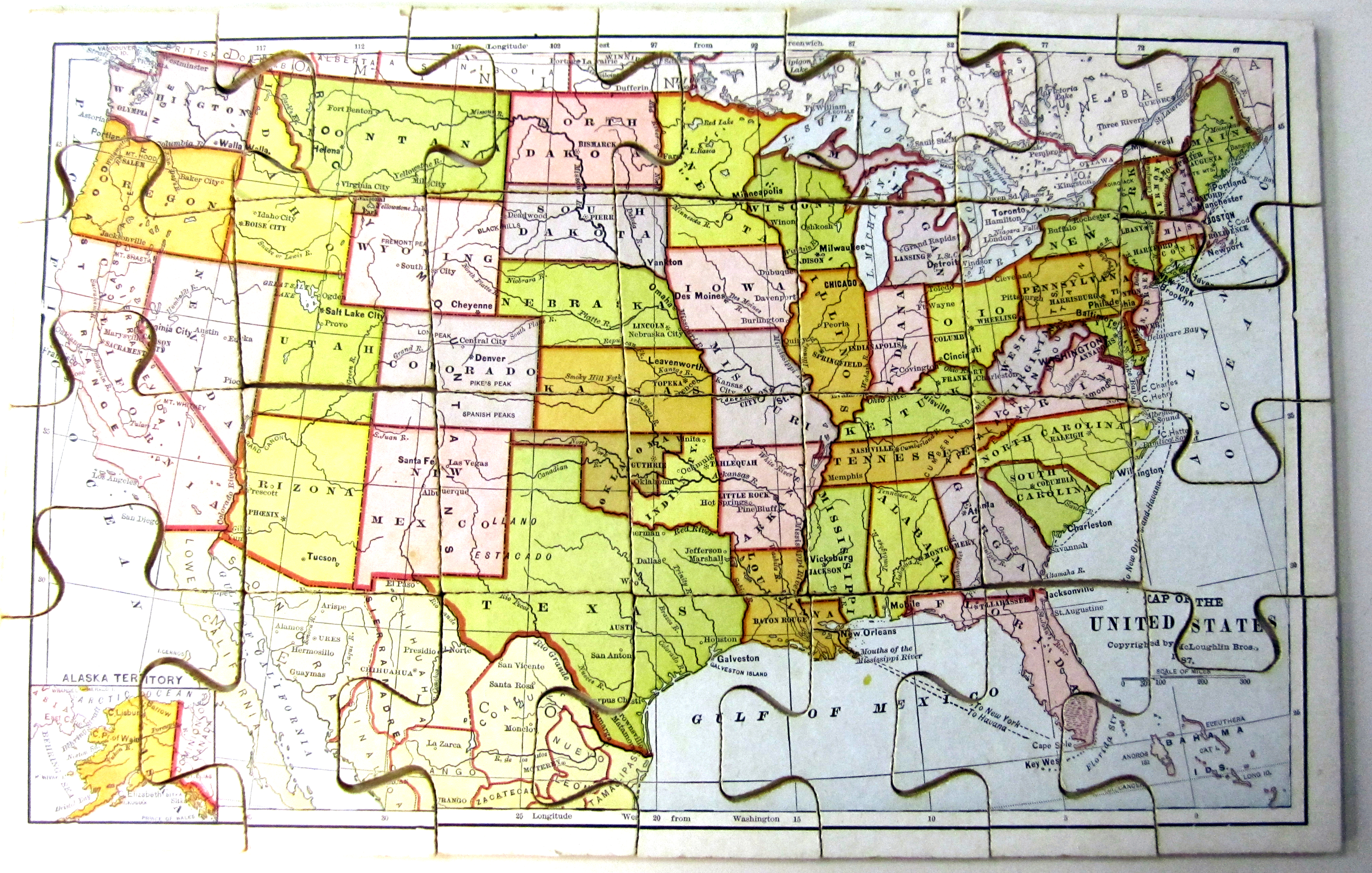 Map Of The United States Copyrighted By Mcloughlin Bros 1897 Jigsaw Puzzle Gift Of Richard J Levine