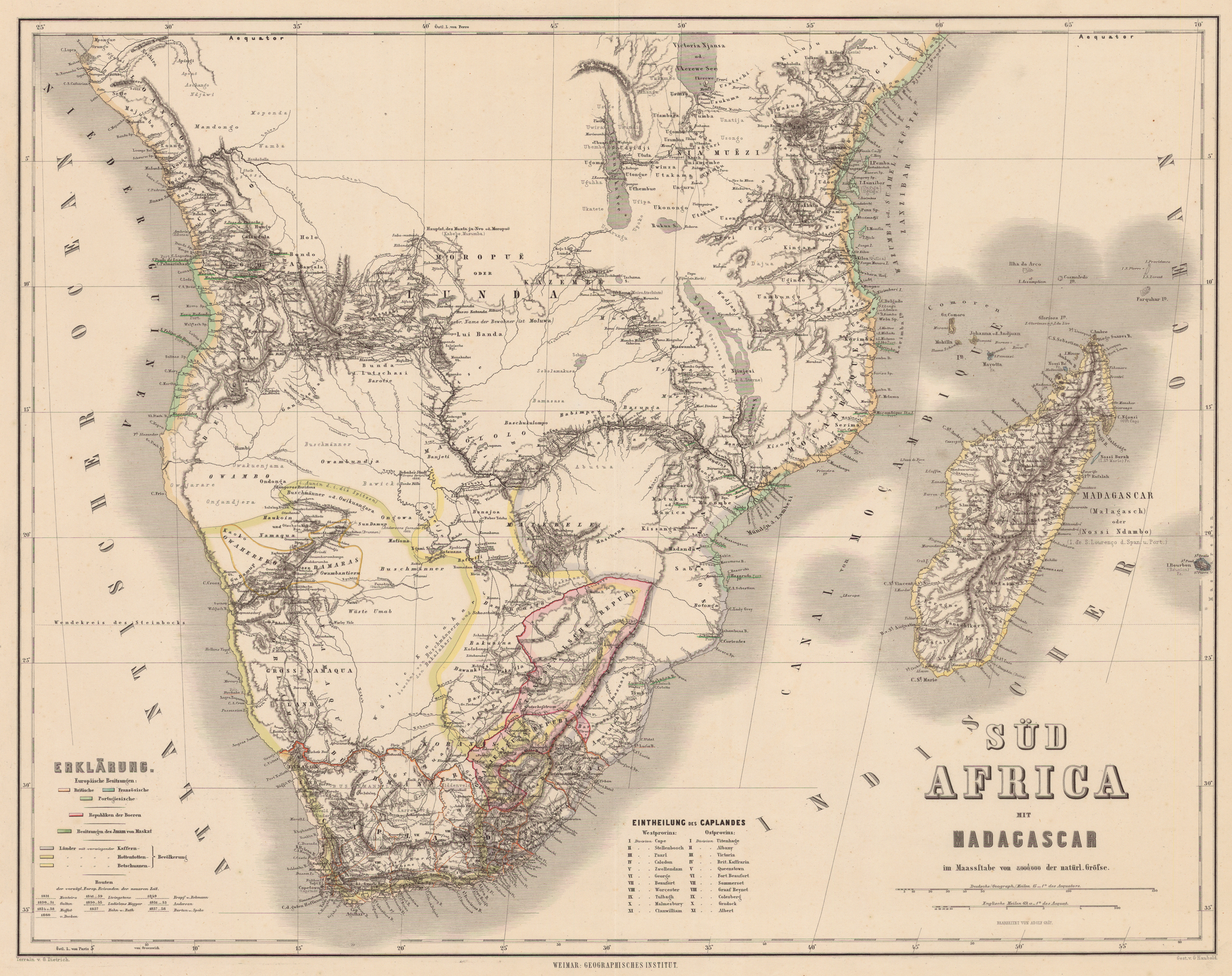 south africa map historical