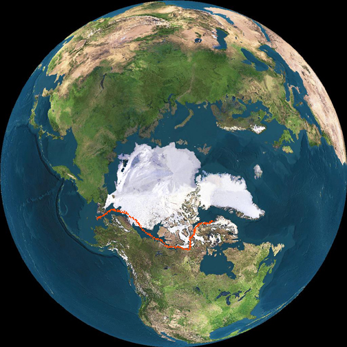 Northwest Passage Today - Today satellite image of world