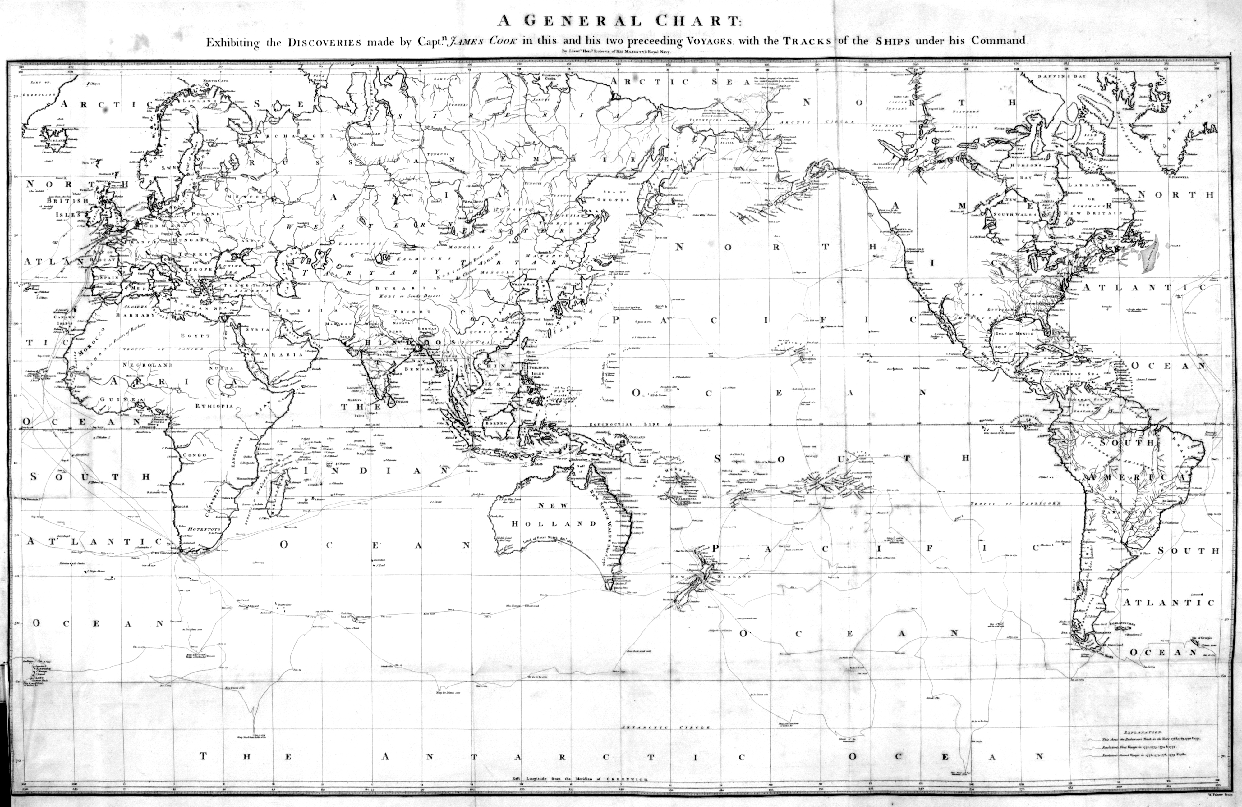 James Cook Third Voyage - World map with latitude and longitude hawaii