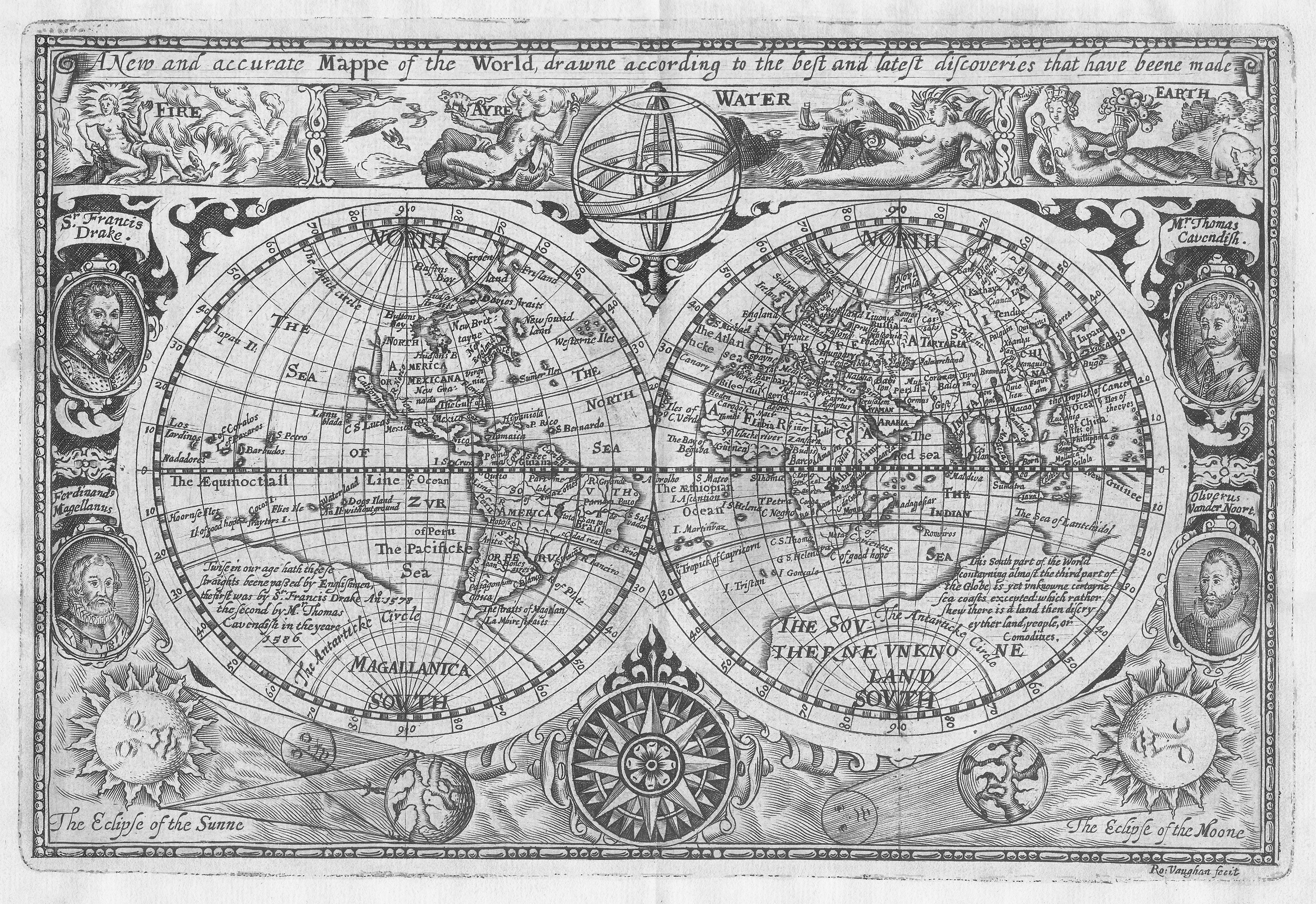 A New And Accurate Map Of The World 1628.Sir Francis Drake