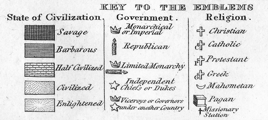 Introduction key to the emblems in william c woodbridges moral and political chart of the inhabited world exhibiting the prevailing religion form of government gumiabroncs Image collections